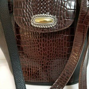 Brighton Leather Handbag Brown & Black Embossed